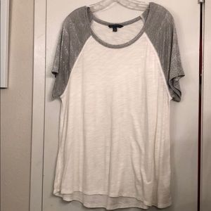 White and silver baseball tee
